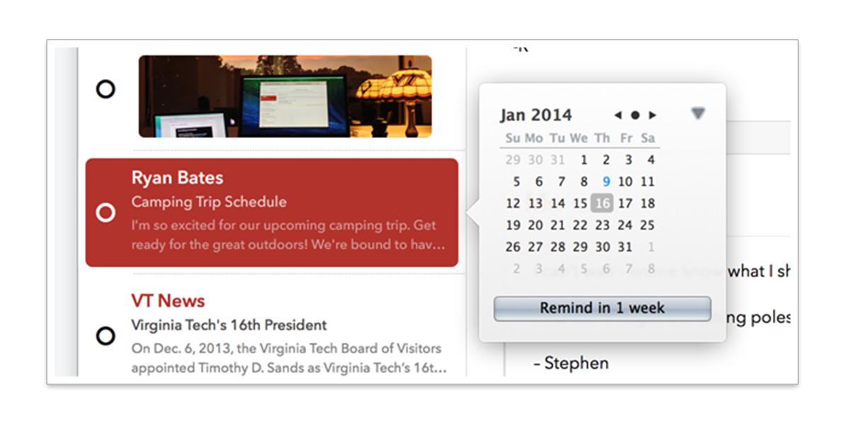 リマインダーで改めて通知日時を設定できる。(c) MINDSENSE